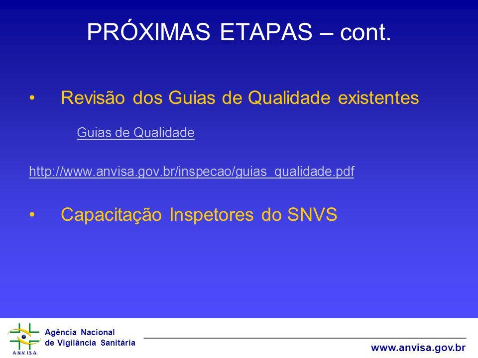 Agência Nacional de Vigilância Sanitária www.anvisa.gov.br PRÓXIMAS ETAPAS – cont. Revisão dos Guias de Qualidade existentes Guias de Qualidade http:/