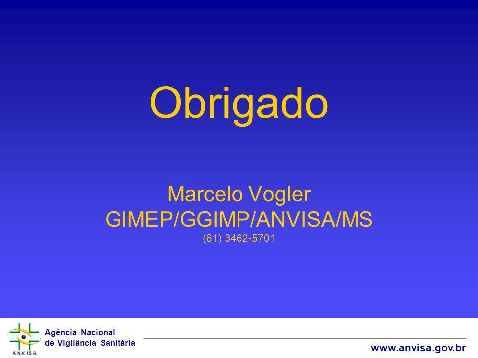 Agência Nacional de Vigilância Sanitária www.anvisa.gov.br Obrigado Marcelo Vogler GIMEP/GGIMP/ANVISA/MS (61) 3462-5701