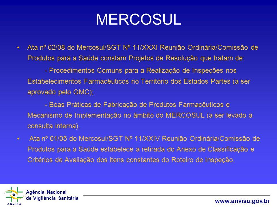 Agência Nacional de Vigilância Sanitária www.anvisa.gov.br MERCOSUL Ata nº 02/08 do Mercosul/SGT Nº 11/XXXI Reunião Ordinária/Comissão de Produtos par