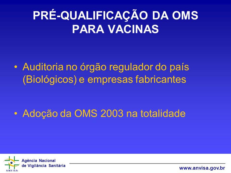 Agência Nacional de Vigilância Sanitária www.anvisa.gov.br PRÉ-QUALIFICAÇÃO DA OMS PARA VACINAS Auditoria no órgão regulador do país (Biológicos) e em