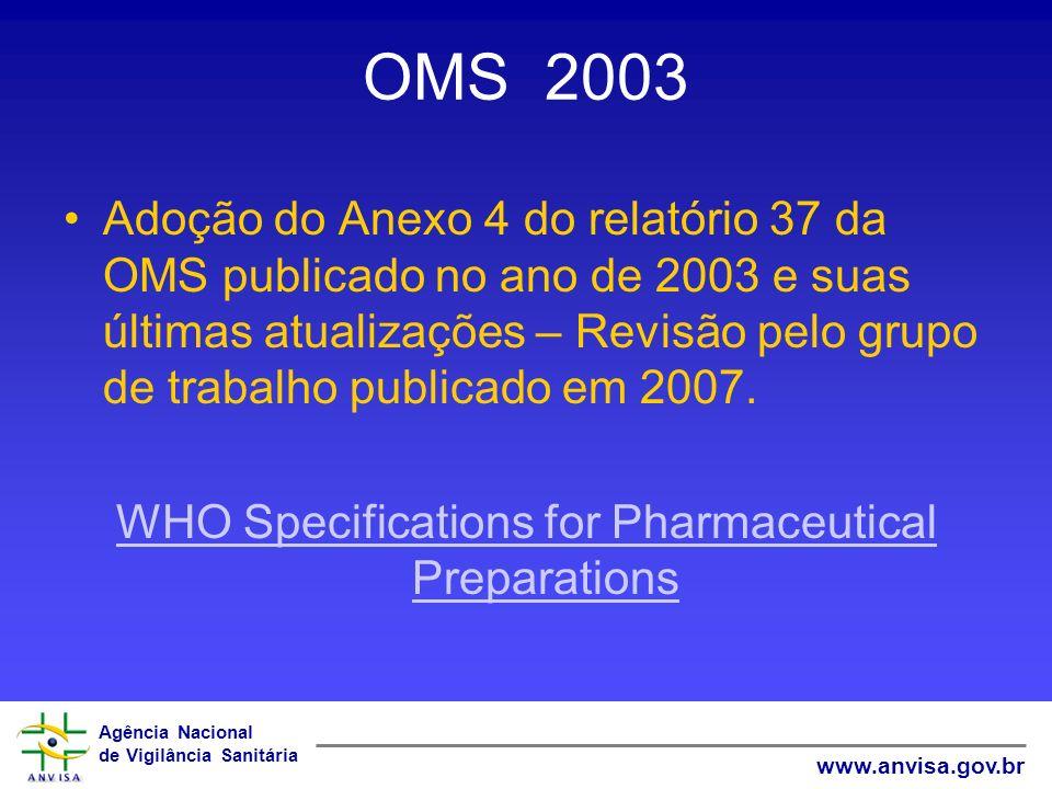 Agência Nacional de Vigilância Sanitária www.anvisa.gov.br OMS 2003 Adoção do Anexo 4 do relatório 37 da OMS publicado no ano de 2003 e suas últimas a