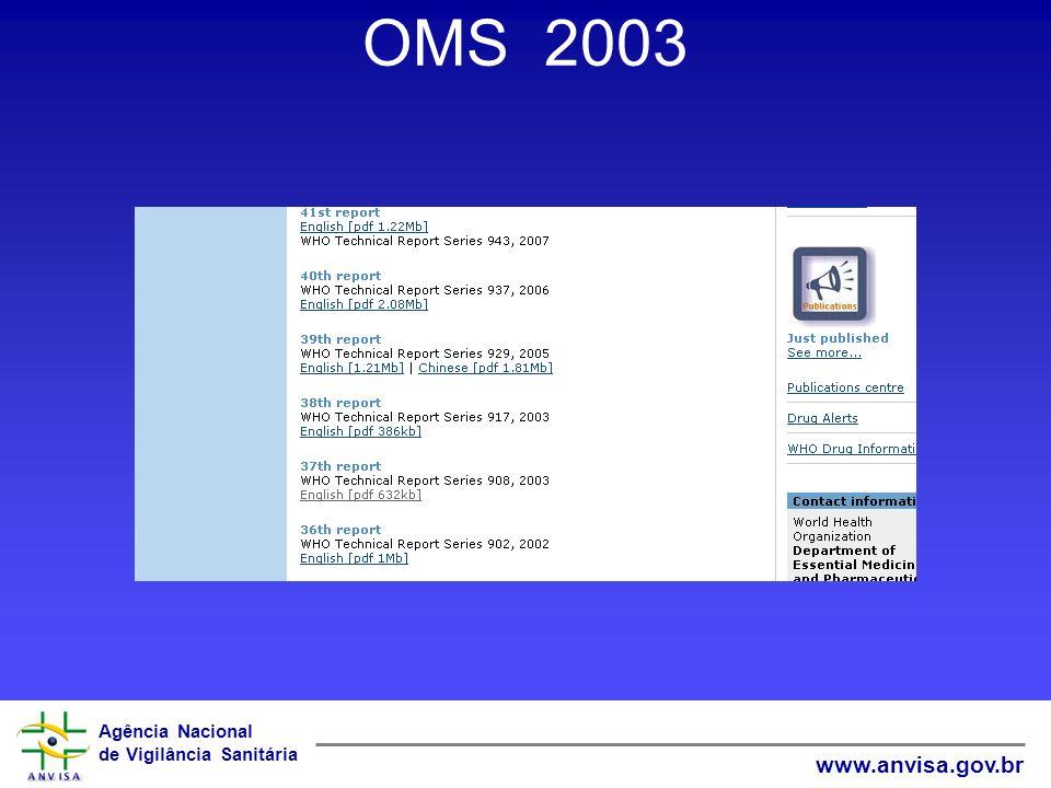 Agência Nacional de Vigilância Sanitária www.anvisa.gov.br OMS 2003