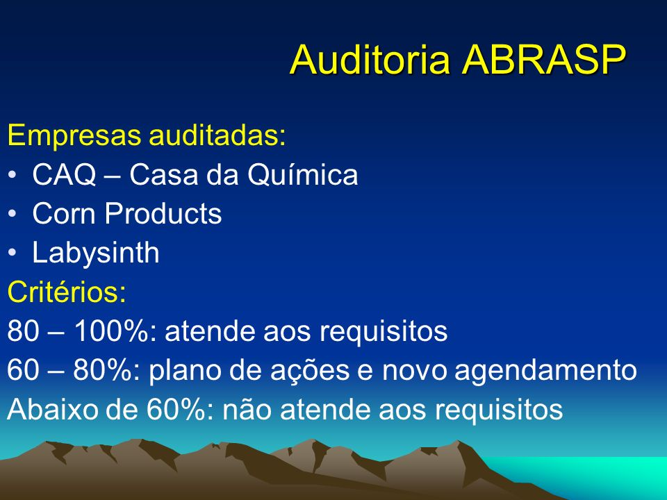 Auditoria ABRASP Empresas auditadas: CAQ – Casa da Química Corn Products Labysinth Critérios: 80 – 100%: atende aos requisitos 60 – 80%: plano de açõe