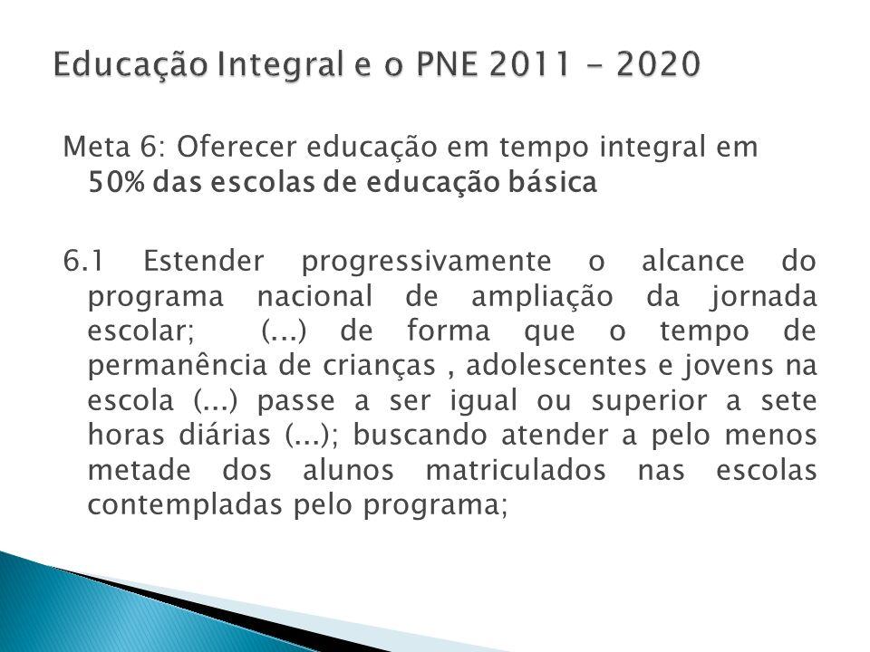 Meta 6: Oferecer educação em tempo integral em 50% das escolas de educação básica 6.1 Estender progressivamente o alcance do programa nacional de ampl