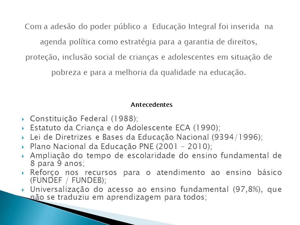 Antecedentes Constituição Federal (1988); Estatuto da Criança e do Adolescente ECA (1990); Lei de Diretrizes e Bases da Educação Nacional (9394/1996);