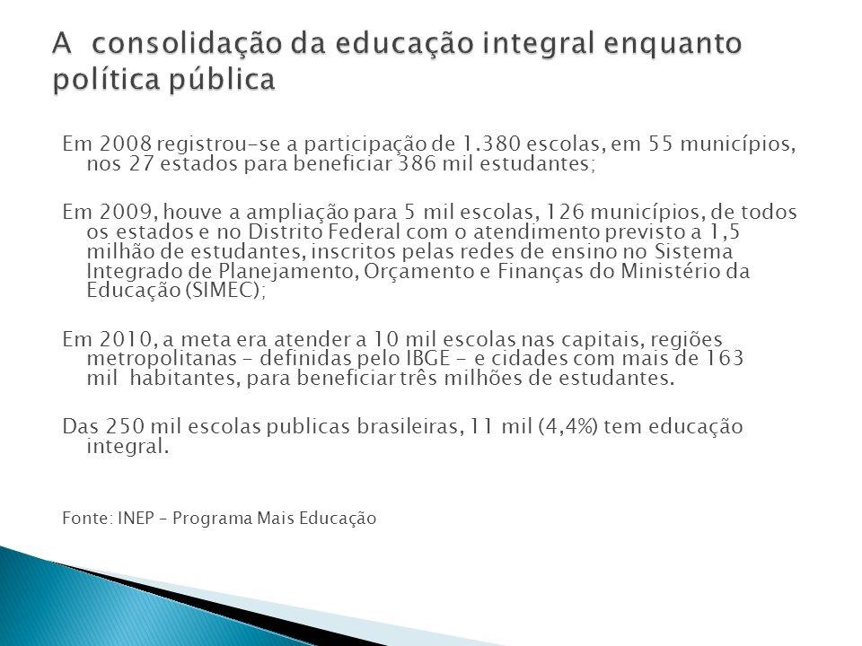Em 2008 registrou-se a participação de 1.380 escolas, em 55 municípios, nos 27 estados para beneficiar 386 mil estudantes; Em 2009, houve a ampliação