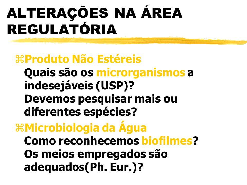 ALTERAÇÕES NA ÁREA REGULATÓRIA zProduto Não Estéreis Quais são os microrganismos a indesejáveis (USP).