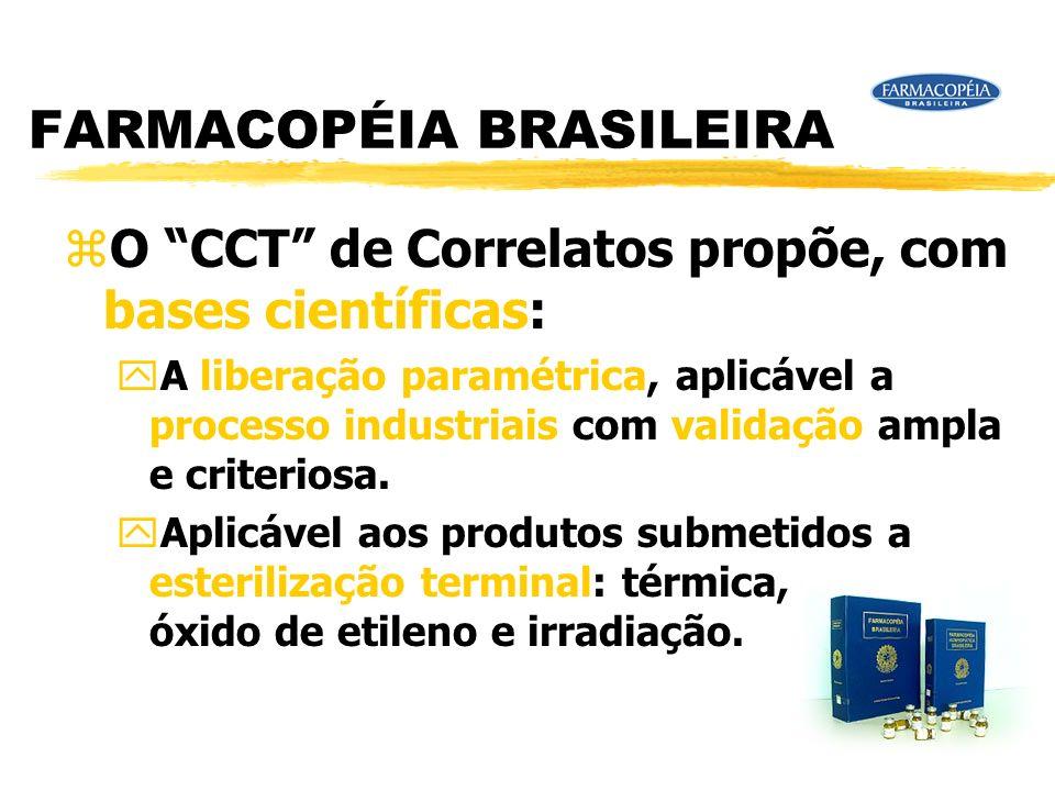 FARMACOPÉIA BRASILEIRA zO CCT de Correlatos propõe, com bases científicas: yA liberação paramétrica, aplicável a processo industriais com validação ampla e criteriosa.