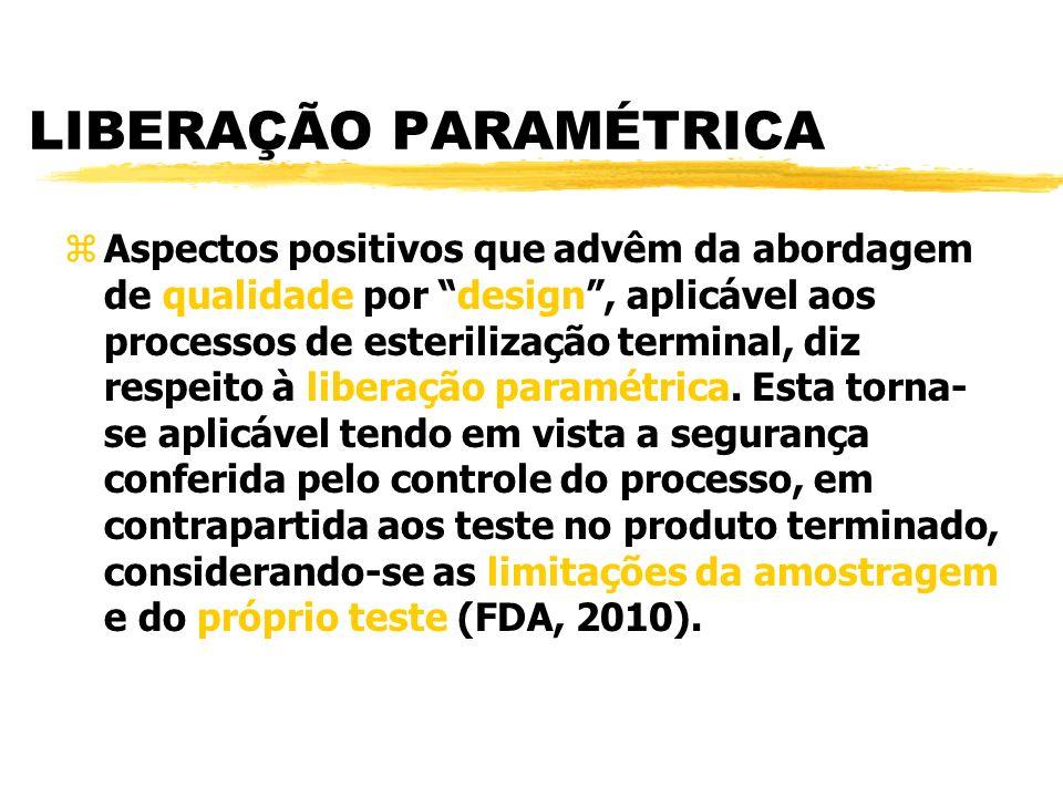 LIBERAÇÃO PARAMÉTRICA zAspectos positivos que advêm da abordagem de qualidade por design, aplicável aos processos de esterilização terminal, diz respeito à liberação paramétrica.