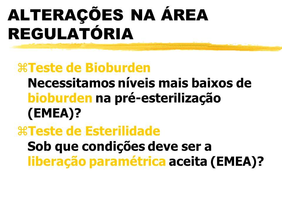 ALTERAÇÕES NA ÁREA REGULATÓRIA zTeste de Bioburden Necessitamos níveis mais baixos de bioburden na pré-esterilização (EMEA).