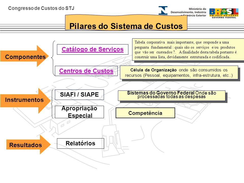 Congresso de Custos do STJ Pilares do Sistema de Custos Componentes Catálogo de Serviços Tabela corporativa mais importante, que responde a uma pergun
