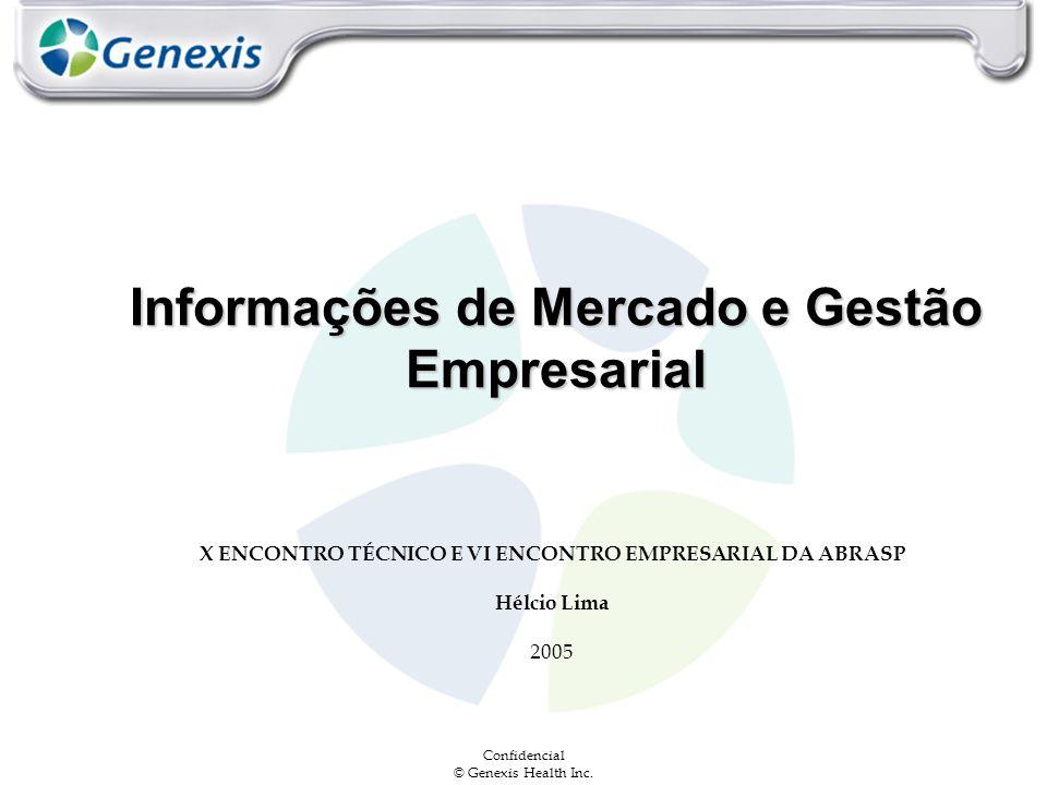 Confidencial © Genexis Health Inc. Informações de Mercado e Gestão Empresarial X ENCONTRO TÉCNICO E VI ENCONTRO EMPRESARIAL DA ABRASP Hélcio Lima 2005