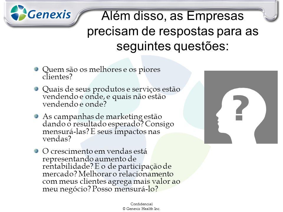 Confidencial © Genexis Health Inc. Além disso, as Empresas precisam de respostas para as seguintes questões: Quem são os melhores e os piores clientes