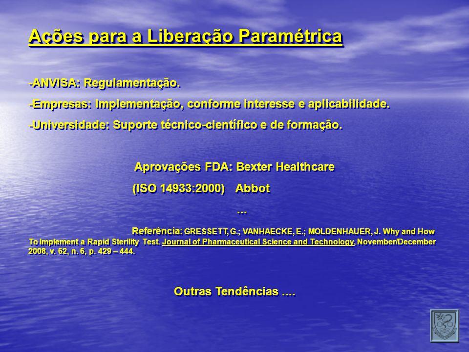 Ações para a Liberação Paramétrica -ANVISA: Regulamentação. -Empresas: Implementação, conforme interesse e aplicabilidade. -Universidade: Suporte técn