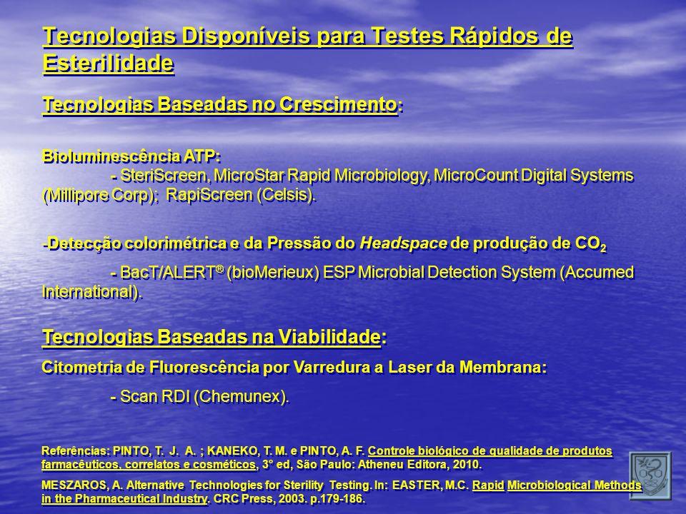 Tecnologias Baseadas no Crescimento : Bioluminescência ATP: - SteriScreen, MicroStar Rapid Microbiology, MicroCount Digital Systems (Millipore Corp);