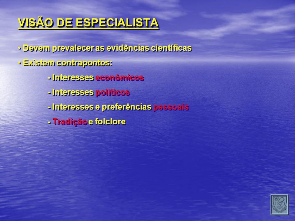 VISÃO DE ESPECIALISTA Devem prevalecer as evidências científicas Existem contrapontos: - Interesses econômicos - Interesses políticos - Interesses e p