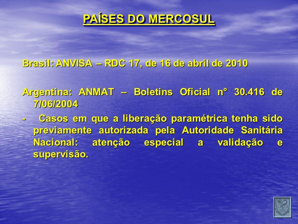 PAÍSES DO MERCOSUL Brasil: ANVISA – RDC 17, de 16 de abril de 2010 Argentina: ANMAT – Boletins Oficial n° 30.416 de 7/06/2004 - Casos em que a liberaç