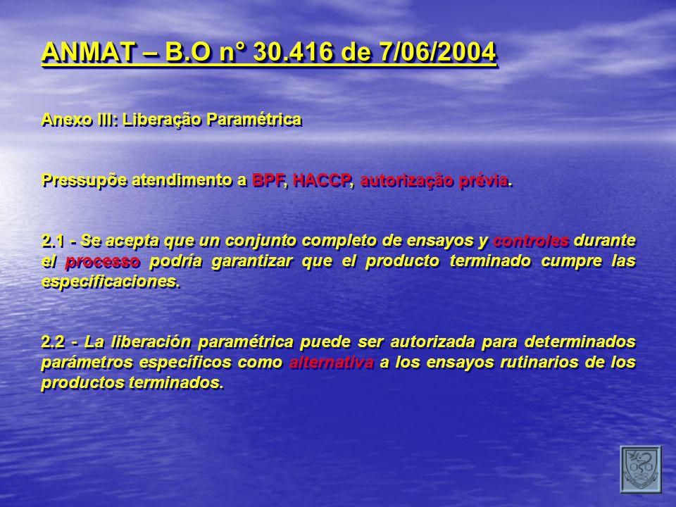 ANMAT – B.O n° 30.416 de 7/06/2004 Anexo III: Liberação Paramétrica Pressupõe atendimento a BPF, HACCP, autorização prévia. 2.1 - Se acepta que un con