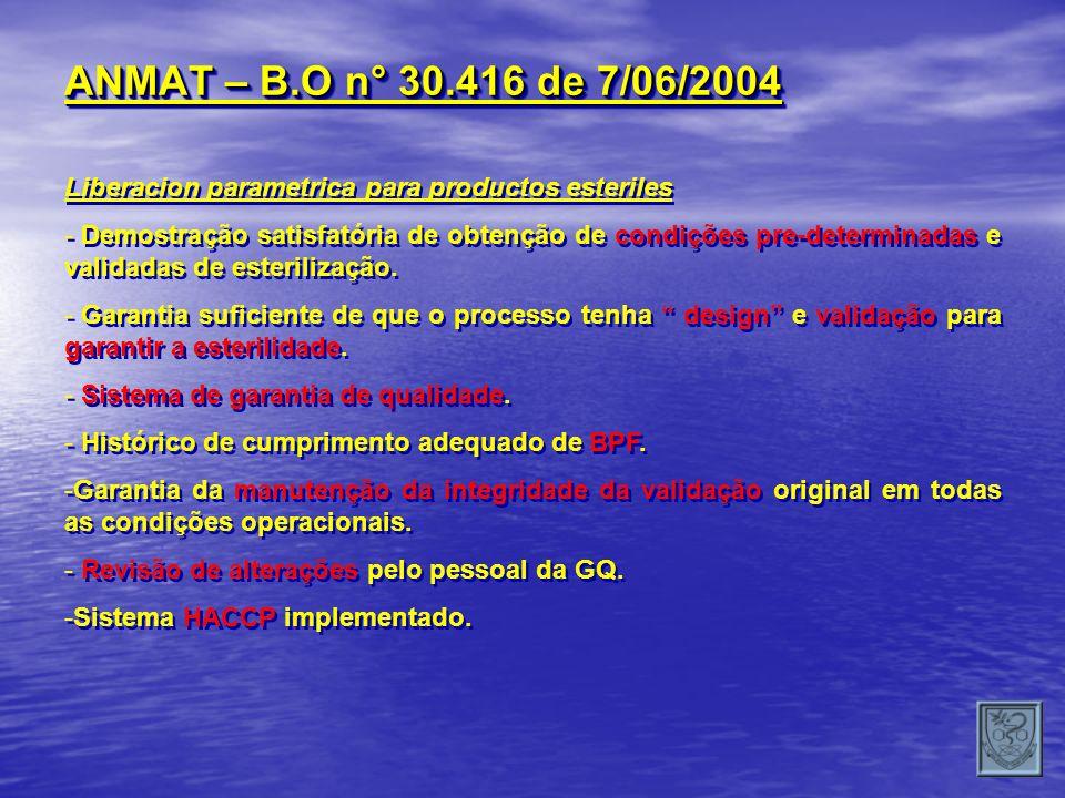 ANMAT – B.O n° 30.416 de 7/06/2004 Liberacion parametrica para productos esteriles - Demostração satisfatória de obtenção de condições pre-determinada