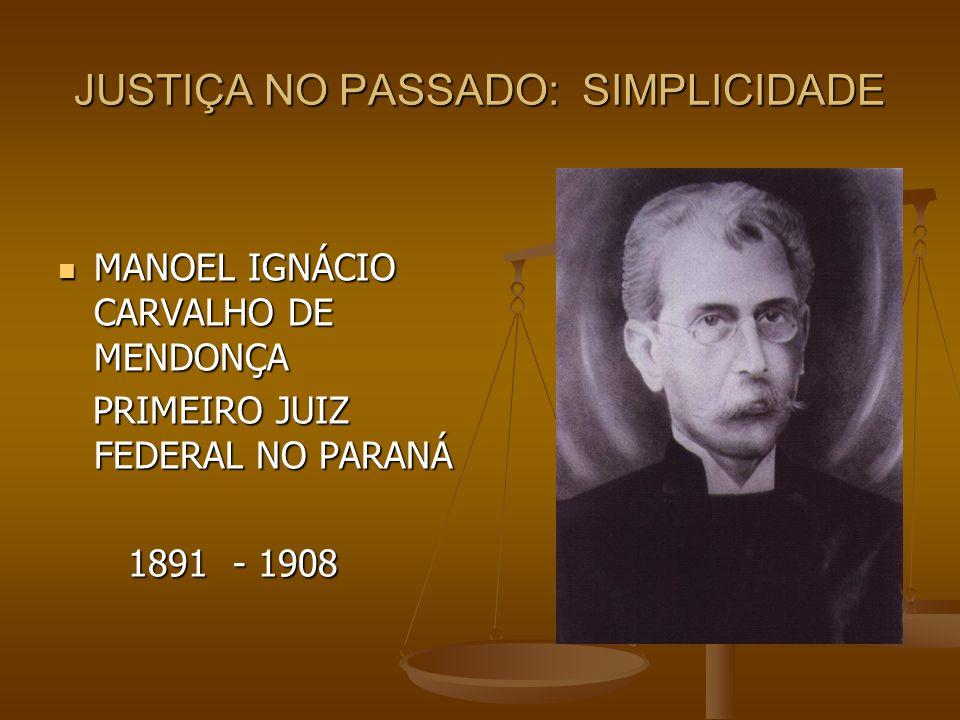 JUSTIÇA NO PASSADO: SIMPLICIDADE MANOEL IGNÁCIO CARVALHO DE MENDONÇA MANOEL IGNÁCIO CARVALHO DE MENDONÇA PRIMEIRO JUIZ FEDERAL NO PARANÁ PRIMEIRO JUIZ