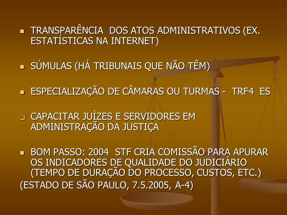 TRANSPARÊNCIA DOS ATOS ADMINISTRATIVOS (EX. ESTATÍSTICAS NA INTERNET) TRANSPARÊNCIA DOS ATOS ADMINISTRATIVOS (EX. ESTATÍSTICAS NA INTERNET) SÚMULAS (H