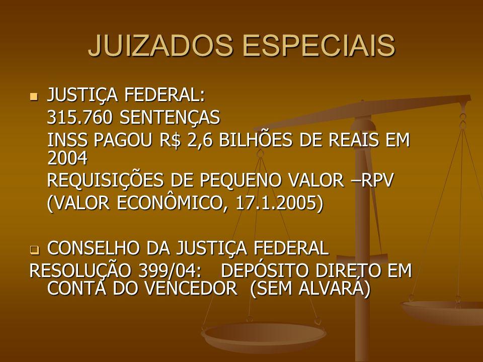 JUIZADOS ESPECIAIS JUSTIÇA FEDERAL: JUSTIÇA FEDERAL: 315.760 SENTENÇAS 315.760 SENTENÇAS INSS PAGOU R$ 2,6 BILHÕES DE REAIS EM 2004 REQUISIÇÕES DE PEQ