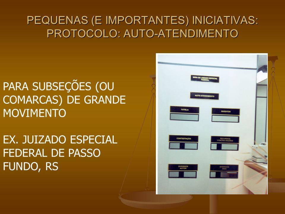 PEQUENAS (E IMPORTANTES) INICIATIVAS: PROTOCOLO: AUTO-ATENDIMENTO PARA SUBSEÇÕES (OU COMARCAS) DE GRANDE MOVIMENTO EX. JUIZADO ESPECIAL FEDERAL DE PAS