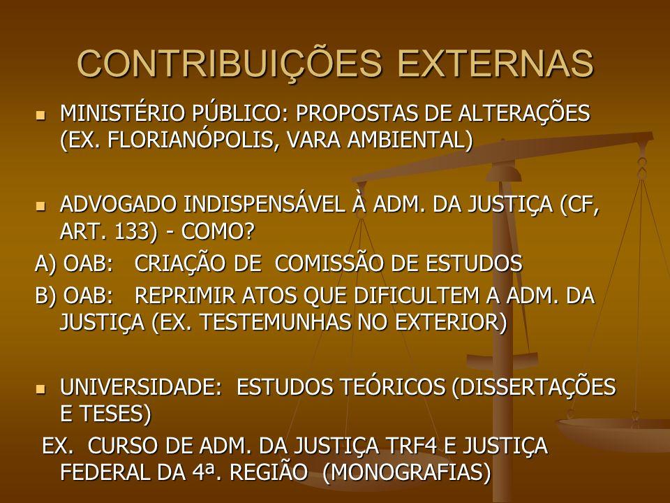 CONTRIBUIÇÕES EXTERNAS MINISTÉRIO PÚBLICO: PROPOSTAS DE ALTERAÇÕES (EX. FLORIANÓPOLIS, VARA AMBIENTAL) MINISTÉRIO PÚBLICO: PROPOSTAS DE ALTERAÇÕES (EX