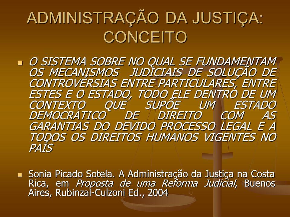 ADMINISTRAÇÃO DA JUSTIÇA: CONCEITO O SISTEMA SOBRE NO QUAL SE FUNDAMENTAM OS MECANISMOS JUDICIAIS DE SOLUÇÃO DE CONTROVÉRSIAS ENTRE PARTICULARES, ENTR