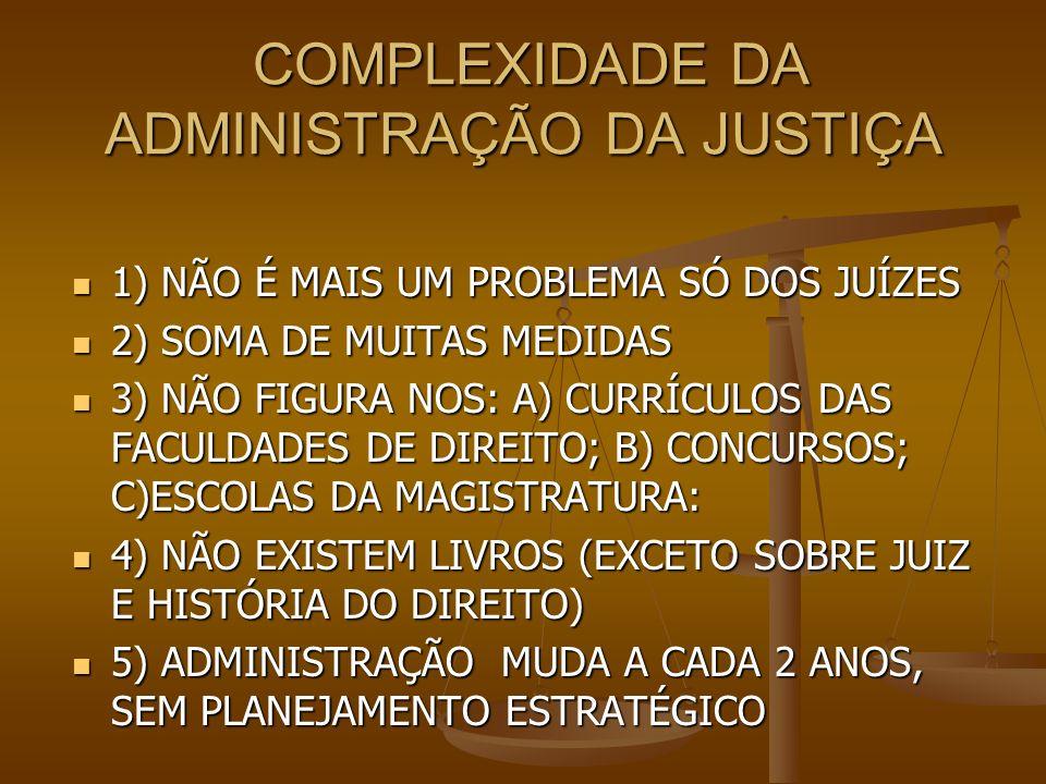 COMPLEXIDADE DA ADMINISTRAÇÃO DA JUSTIÇA COMPLEXIDADE DA ADMINISTRAÇÃO DA JUSTIÇA 1) NÃO É MAIS UM PROBLEMA SÓ DOS JUÍZES 1) NÃO É MAIS UM PROBLEMA SÓ