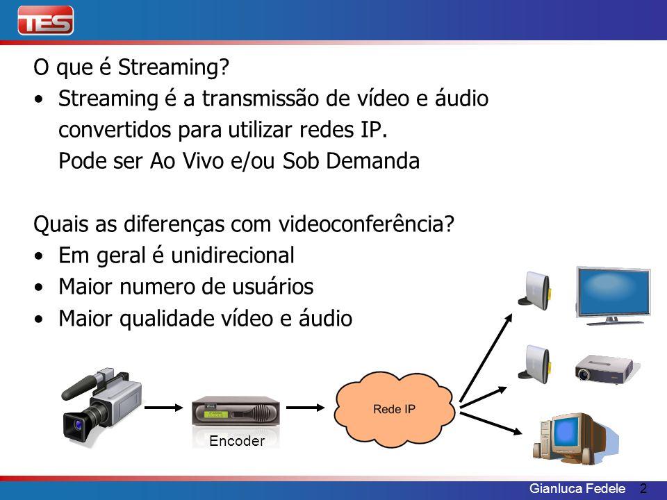 Gianluca Fedele2 O que é Streaming? Streaming é a transmissão de vídeo e áudio convertidos para utilizar redes IP. Pode ser Ao Vivo e/ou Sob Demanda Q