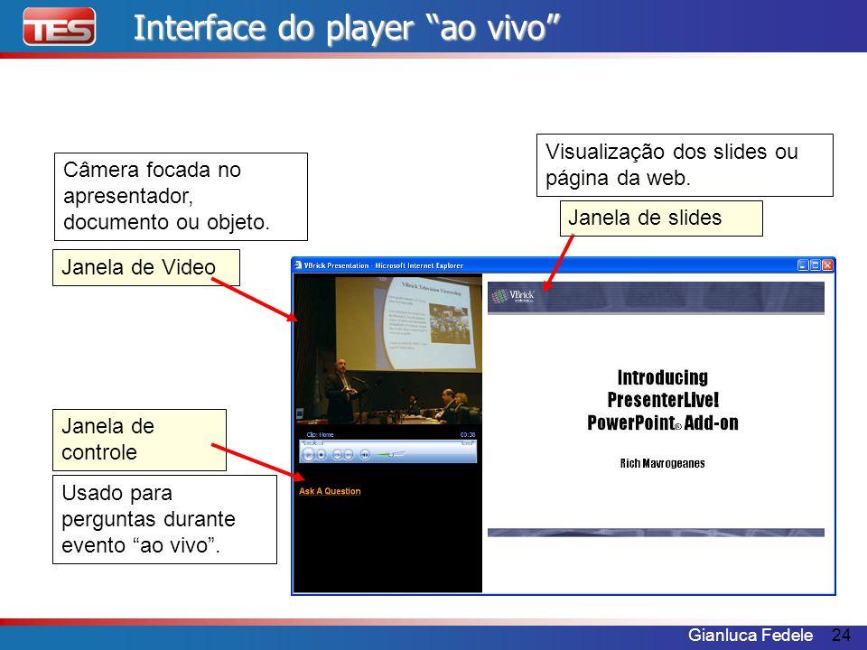 Gianluca Fedele24 Janela de Video Janela de controle Janela de slides Câmera focada no apresentador, documento ou objeto. Visualização dos slides ou p