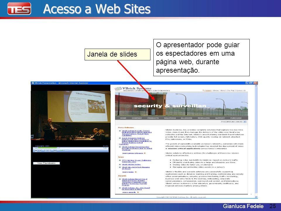 Gianluca Fedele25 Janela de slides O apresentador pode guiar os espectadores em uma página web, durante apresentação. Acesso a Web Sites