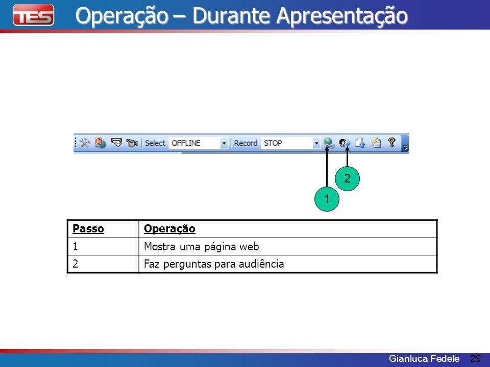 Gianluca Fedele29 PassoOperação 1Mostra uma página web 2Faz perguntas para audiência 1 2 Operação – Durante Apresentação
