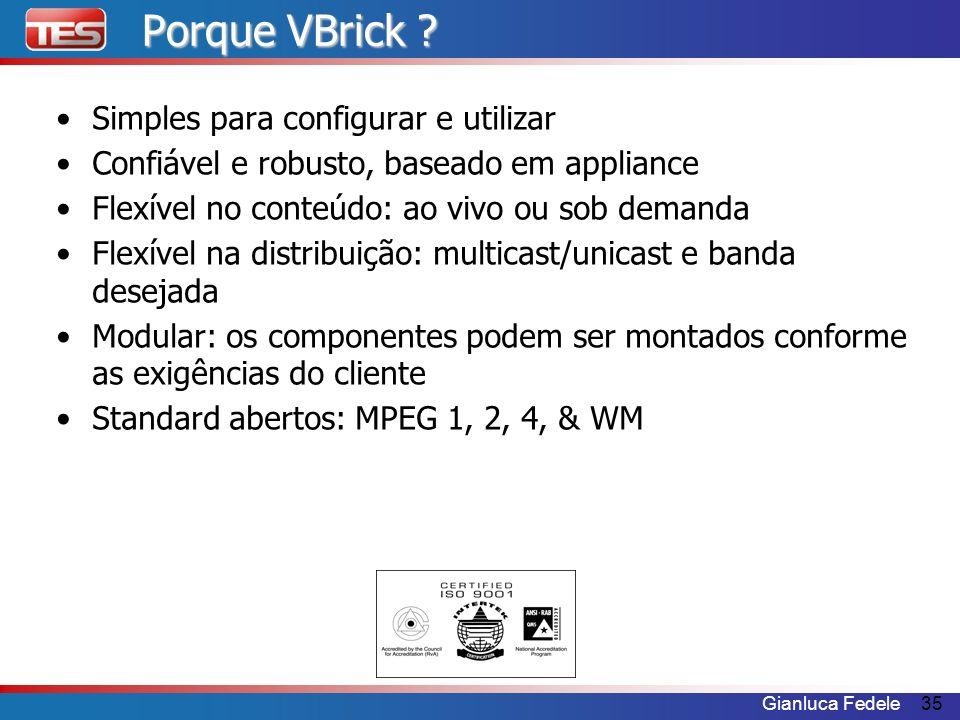 Gianluca Fedele35 Porque VBrick ? Simples para configurar e utilizar Confiável e robusto, baseado em appliance Flexível no conteúdo: ao vivo ou sob de