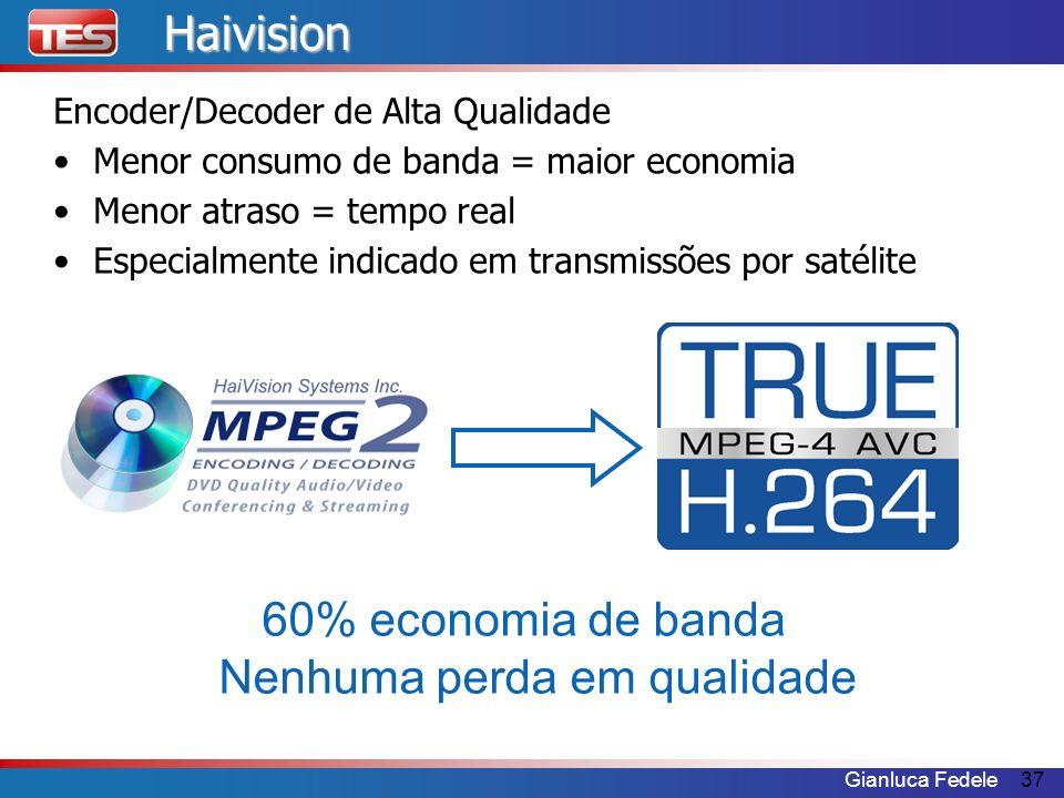 Gianluca Fedele37Haivision Encoder/Decoder de Alta Qualidade Menor consumo de banda = maior economia Menor atraso = tempo real Especialmente indicado