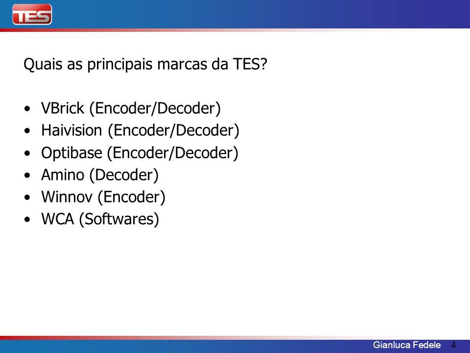 Gianluca Fedele4 Quais as principais marcas da TES? VBrick (Encoder/Decoder) Haivision (Encoder/Decoder) Optibase (Encoder/Decoder) Amino (Decoder) Wi