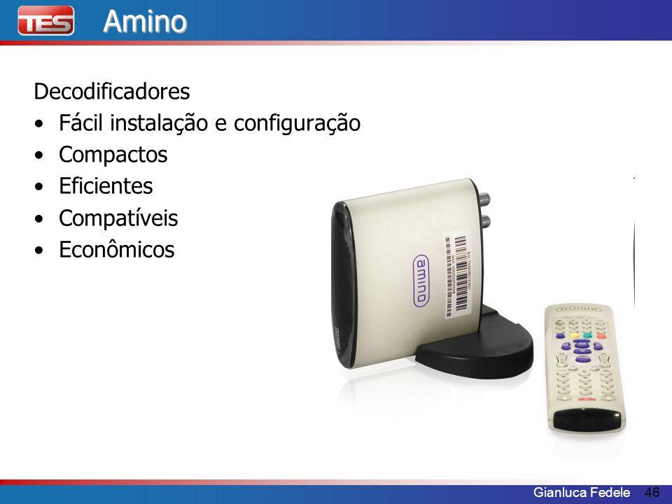 Gianluca Fedele46Amino Decodificadores Fácil instalação e configuração Compactos Eficientes Compatíveis Econômicos