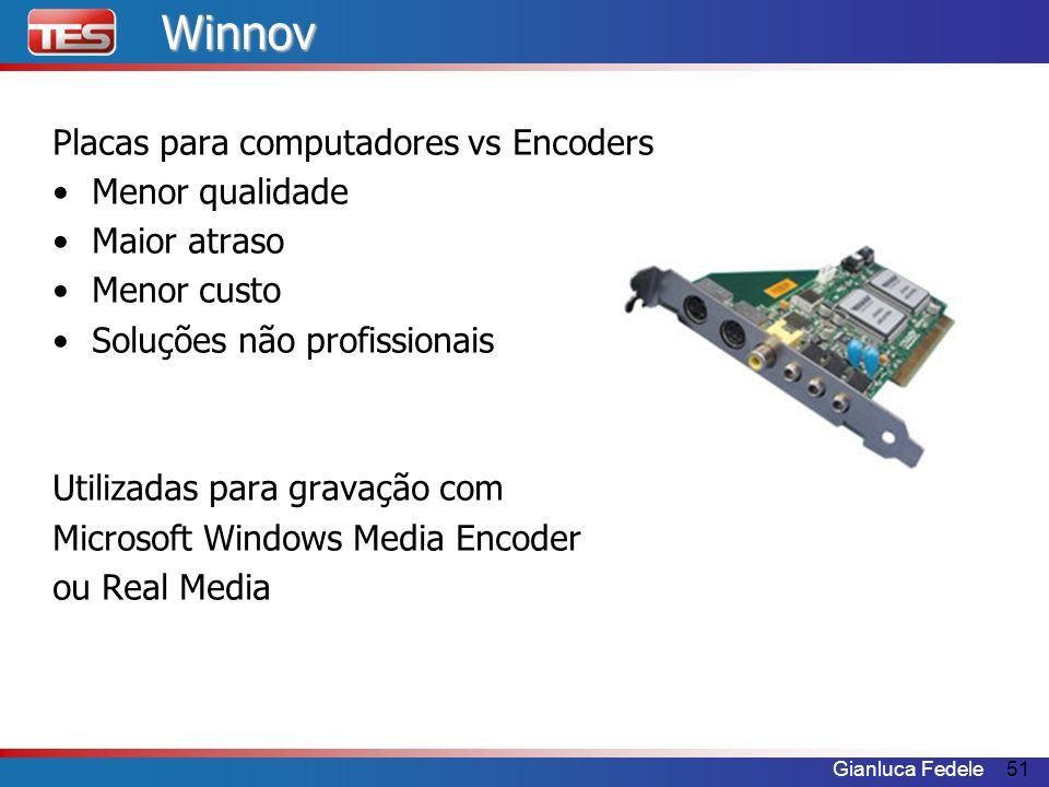 Gianluca Fedele51Winnov Placas para computadores vs Encoders Menor qualidade Maior atraso Menor custo Soluções não profissionais Utilizadas para grava