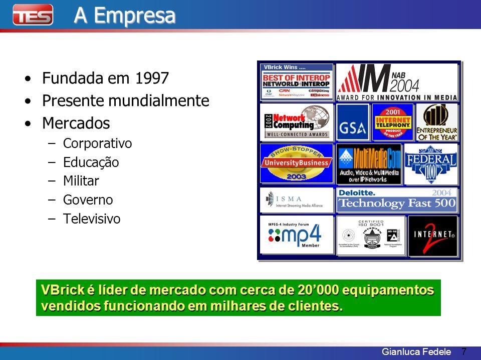 Gianluca Fedele7 A Empresa Fundada em 1997 Presente mundialmente Mercados –Corporativo –Educação –Militar –Governo –Televisivo VBrick é líder de merca