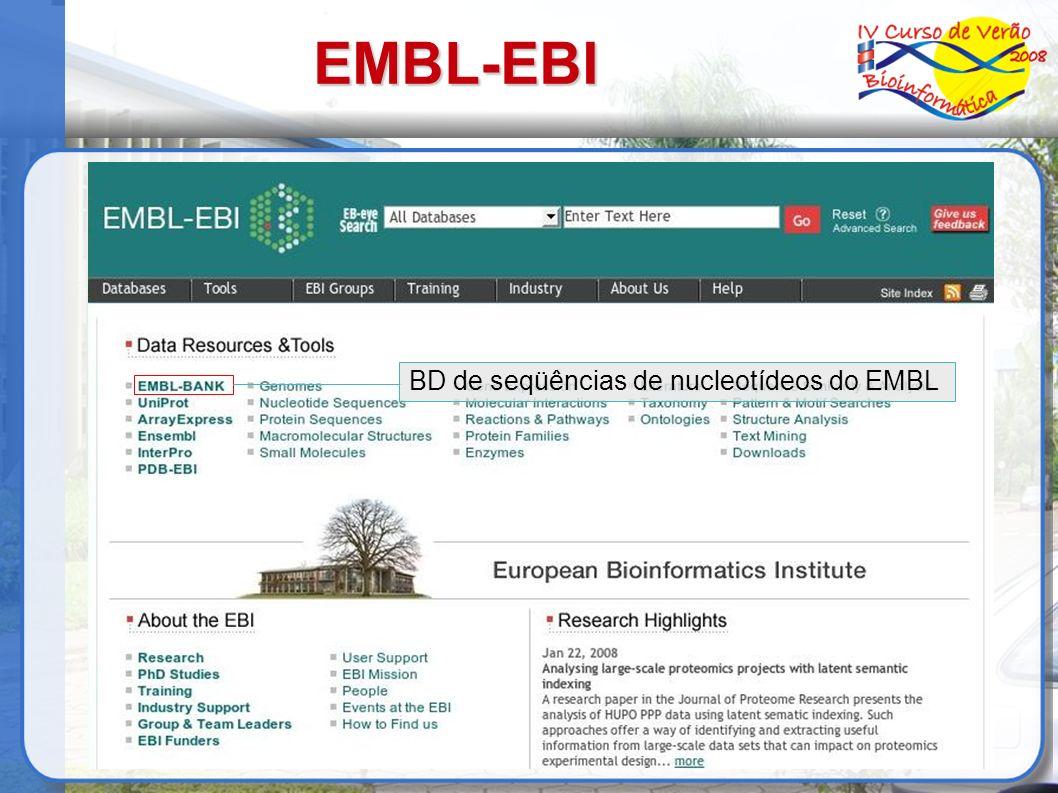 EMBL-EBI BD de seqüências de nucleotídeos do EMBL