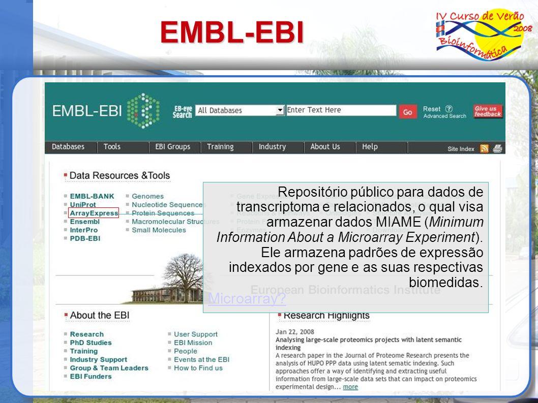 EMBL-EBI Repositório público para dados de transcriptoma e relacionados, o qual visa armazenar dados MIAME (Minimum Information About a Microarray Exp