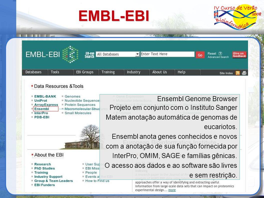 EMBL-EBI Ensembl Genome Browser Projeto em conjunto com o Instituto Sanger Matem anotação automática de genomas de eucariotos. Ensembl anota genes con