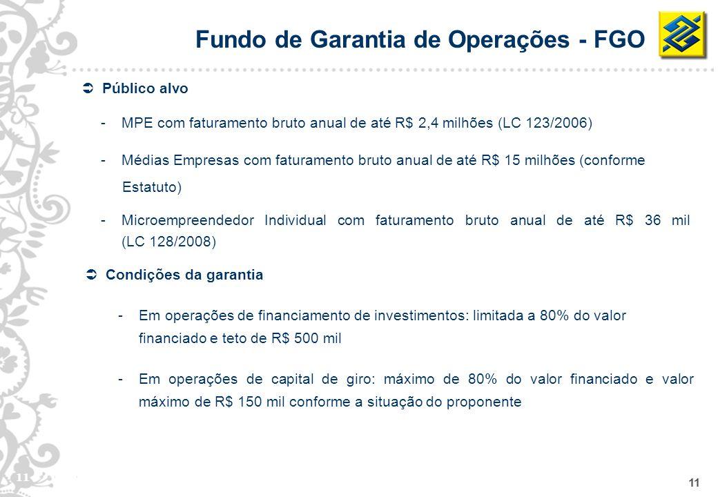 11 Condições da garantia -Em operações de financiamento de investimentos: limitada a 80% do valor financiado e teto de R$ 500 mil -Em operações de cap