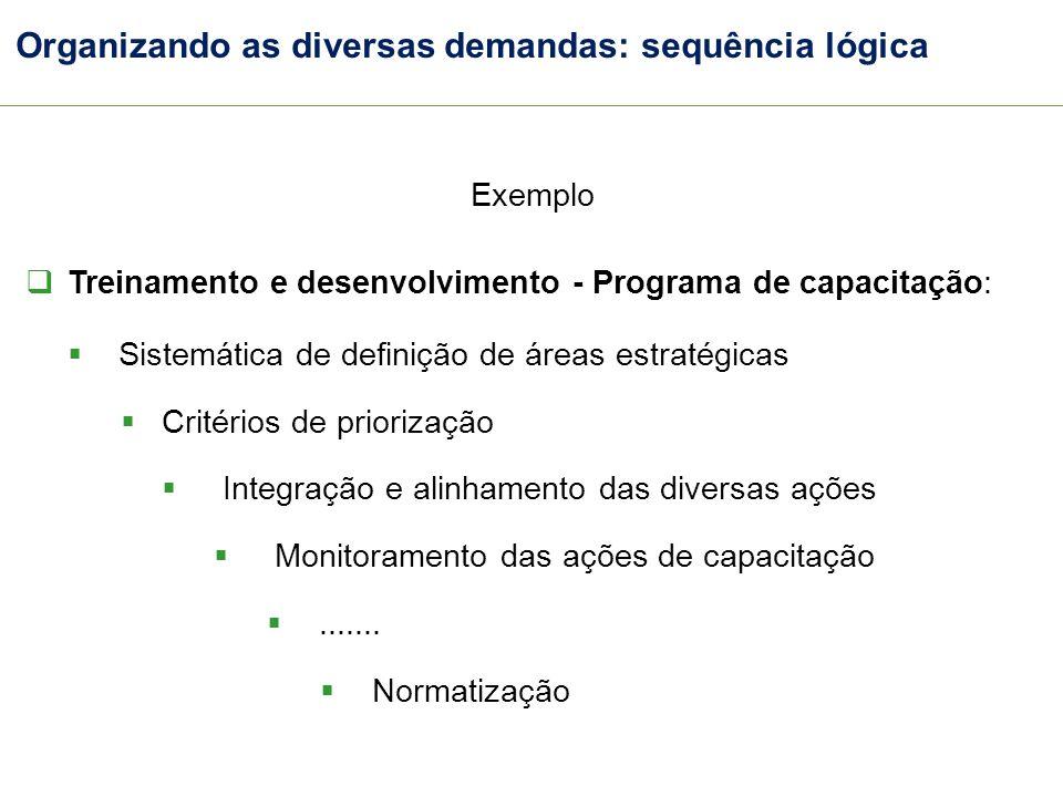 Organizando as diversas demandas: sequência lógica Exemplo Treinamento e desenvolvimento - Programa de capacitação: Sistemática de definição de áreas