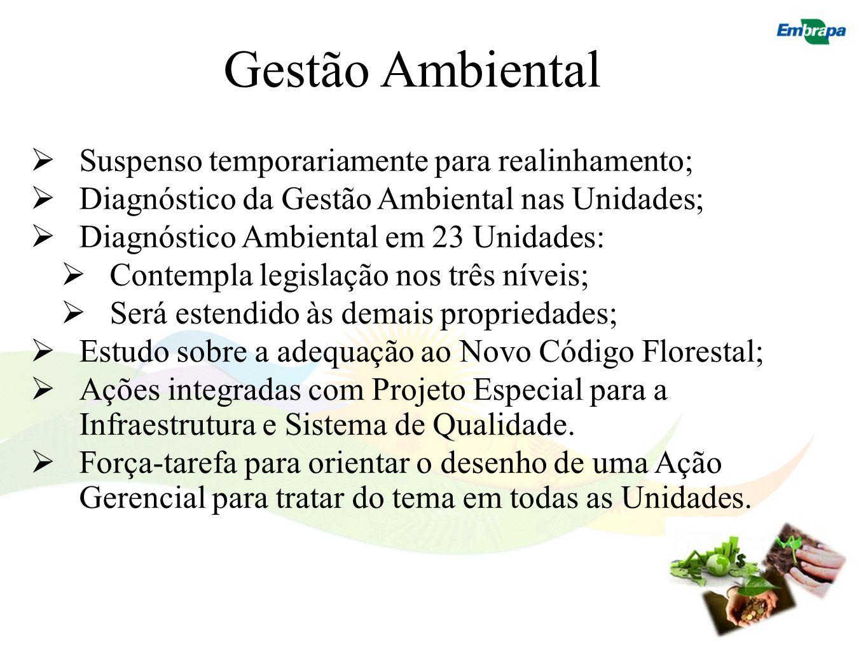 Gestão Ambiental Suspenso temporariamente para realinhamento; Diagnóstico da Gestão Ambiental nas Unidades; Diagnóstico Ambiental em 23 Unidades: Cont