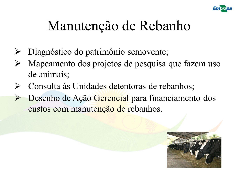 Manutenção de Rebanho Diagnóstico do patrimônio semovente; Mapeamento dos projetos de pesquisa que fazem uso de animais; Consulta às Unidades detentor