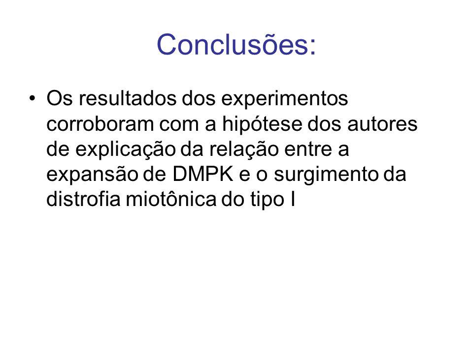 Conclusões: Os resultados dos experimentos corroboram com a hipótese dos autores de explicação da relação entre a expansão de DMPK e o surgimento da d