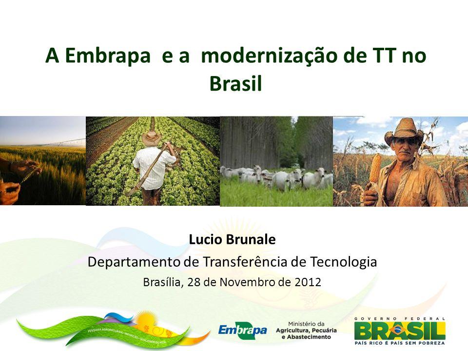 A Embrapa e a modernização de TT no Brasil Lucio Brunale Departamento de Transferência de Tecnologia Brasília, 28 de Novembro de 2012