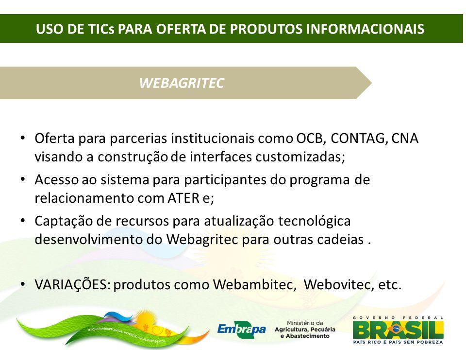 WEBAGRITEC Oferta para parcerias institucionais como OCB, CONTAG, CNA visando a construção de interfaces customizadas; Acesso ao sistema para particip